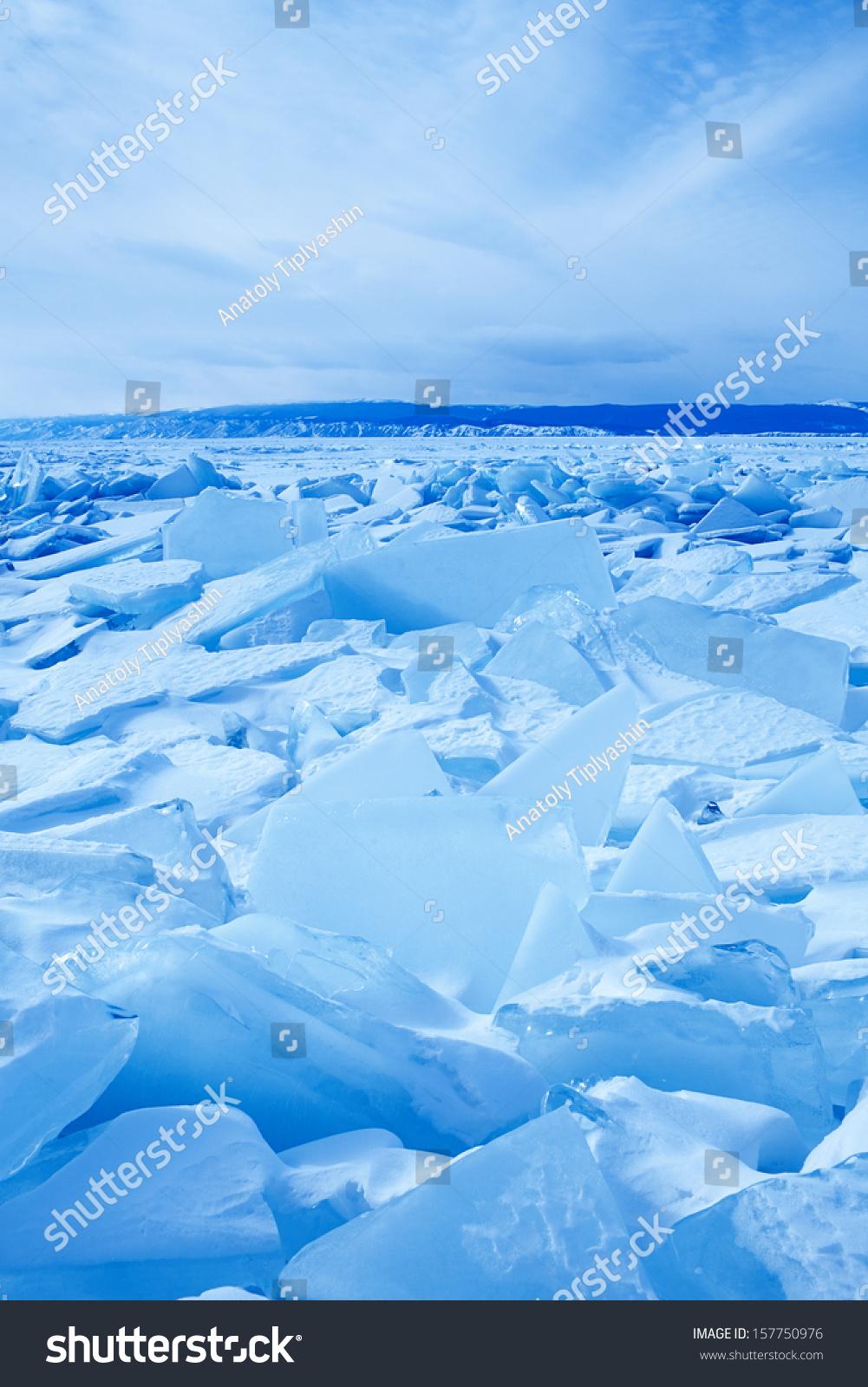 冬天冰雪景观在贝加尔湖-背景/素材,自然-海洛创意()