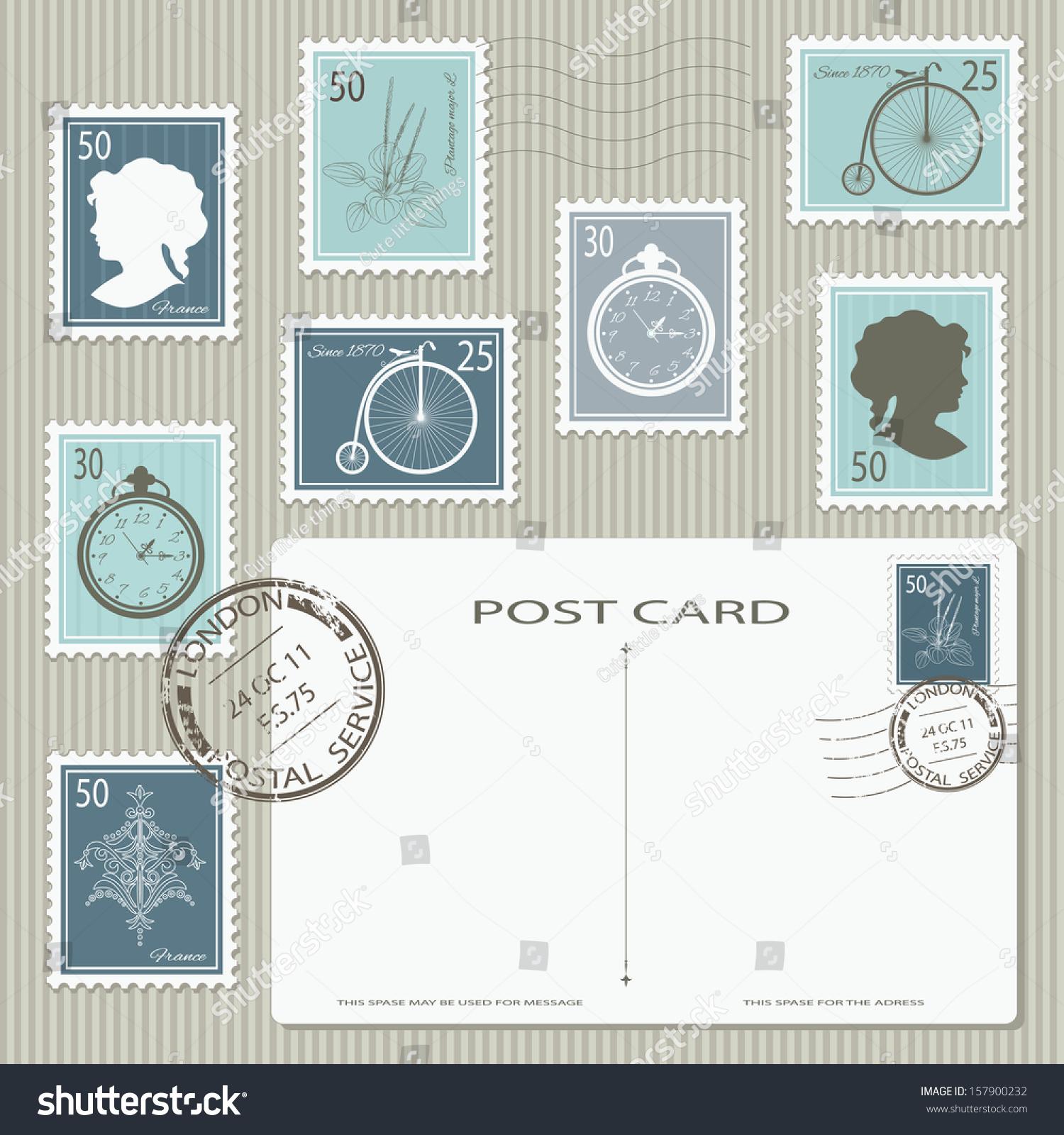 优雅的邮票和明信片。矢量插图。可用于剪贴簿,邀请卡,拼贴设计。所有对象单独分组,易于使用。-背景/素材,物体-海洛创意正版图片,视频,音乐素材交易平台-Shutterstock中国独家合作伙伴-站酷旗下品牌
