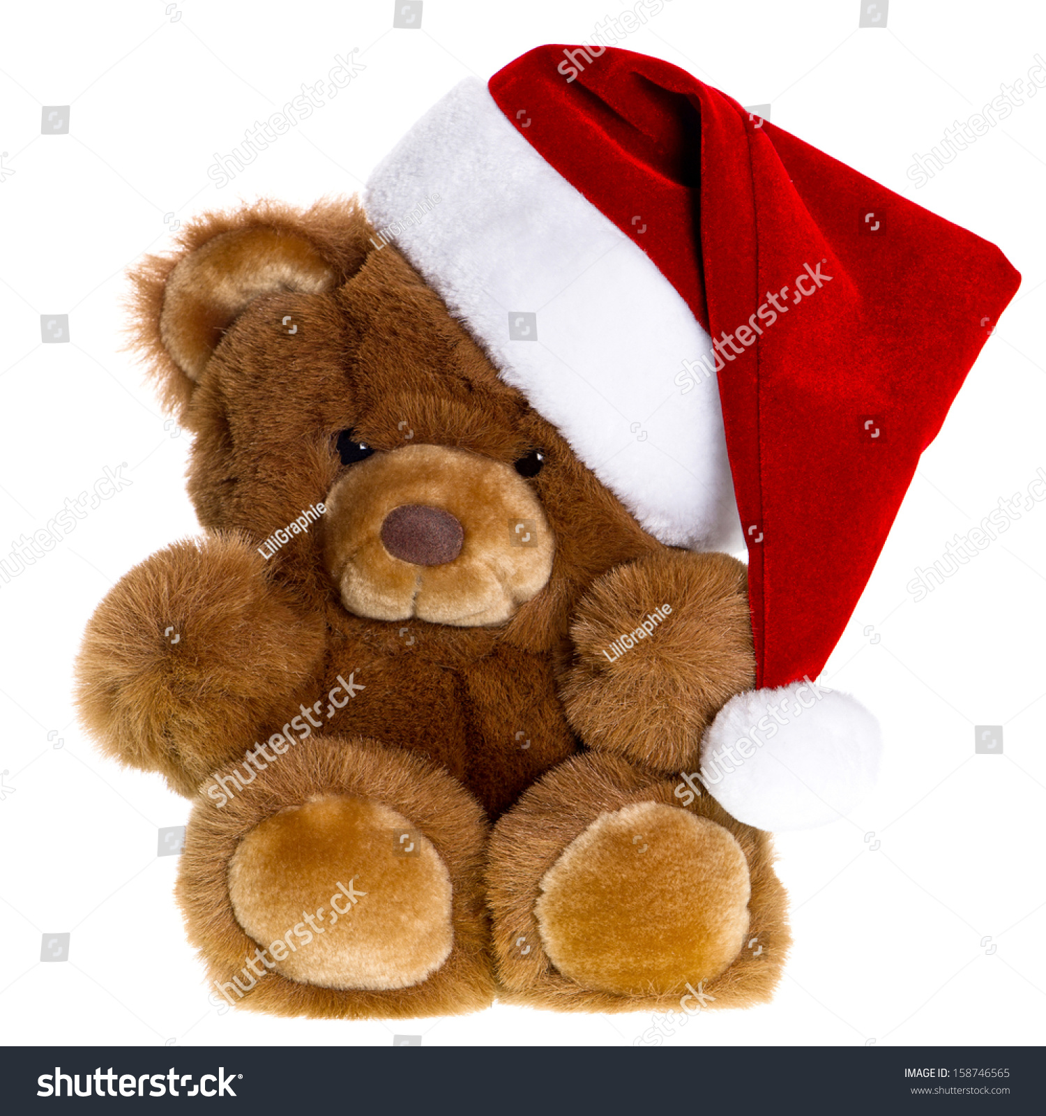 可爱的泰迪熊和圣诞老人的帽子.圣诞装饰-假期,复古
