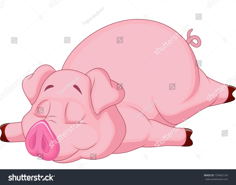 可爱的卡通猪睡觉-动物/野生生物-海洛创意(hellorf)
