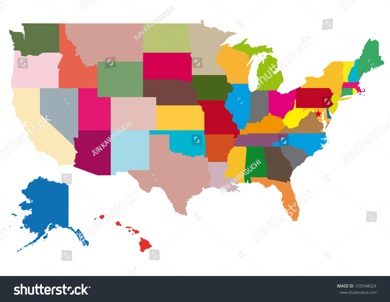 美国地图:向量集.详细的国家与地区边界形状孤立在.