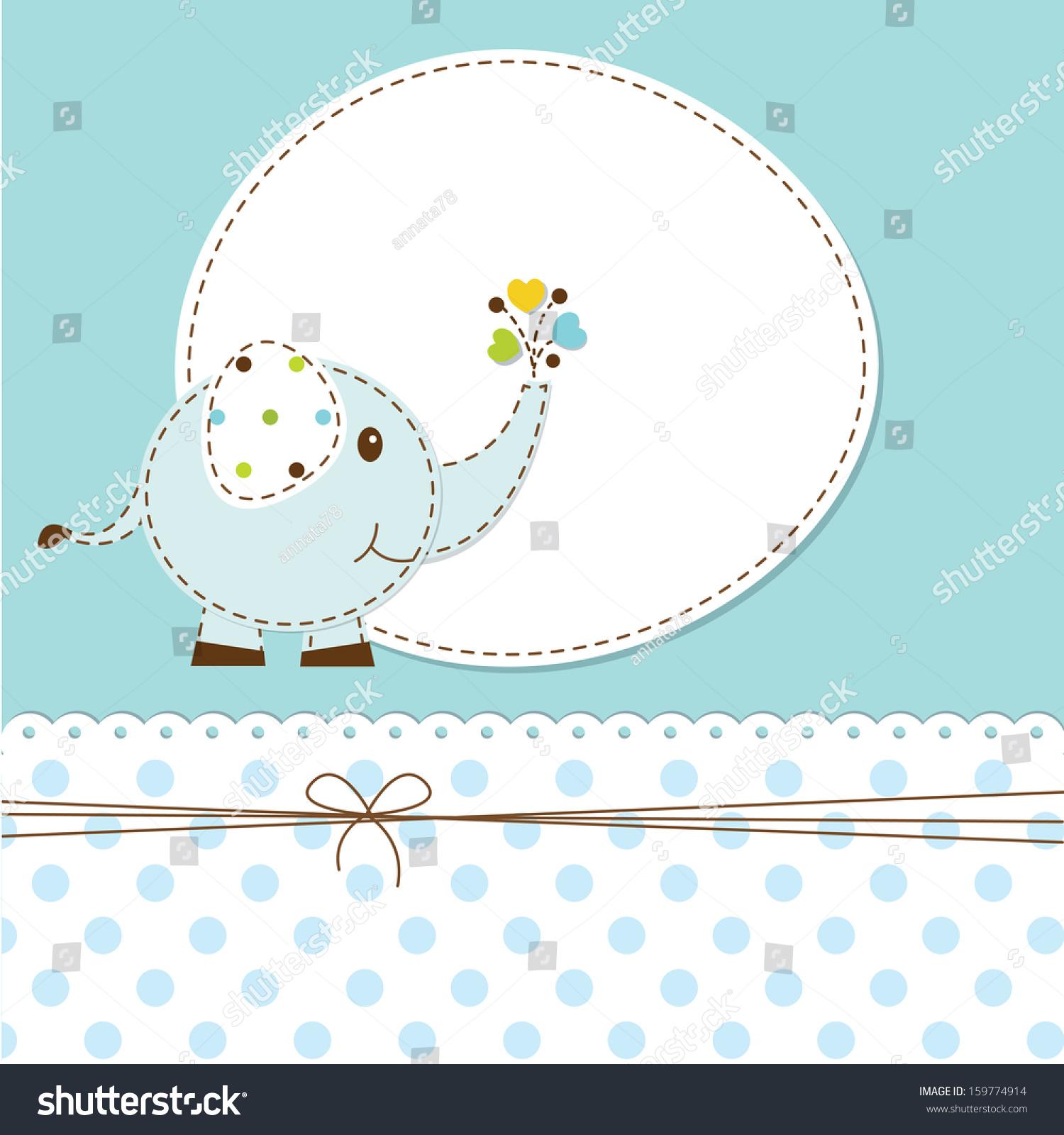 蓝色卡通象婴儿淋浴-背景/素材,假期-海洛创意()-中国