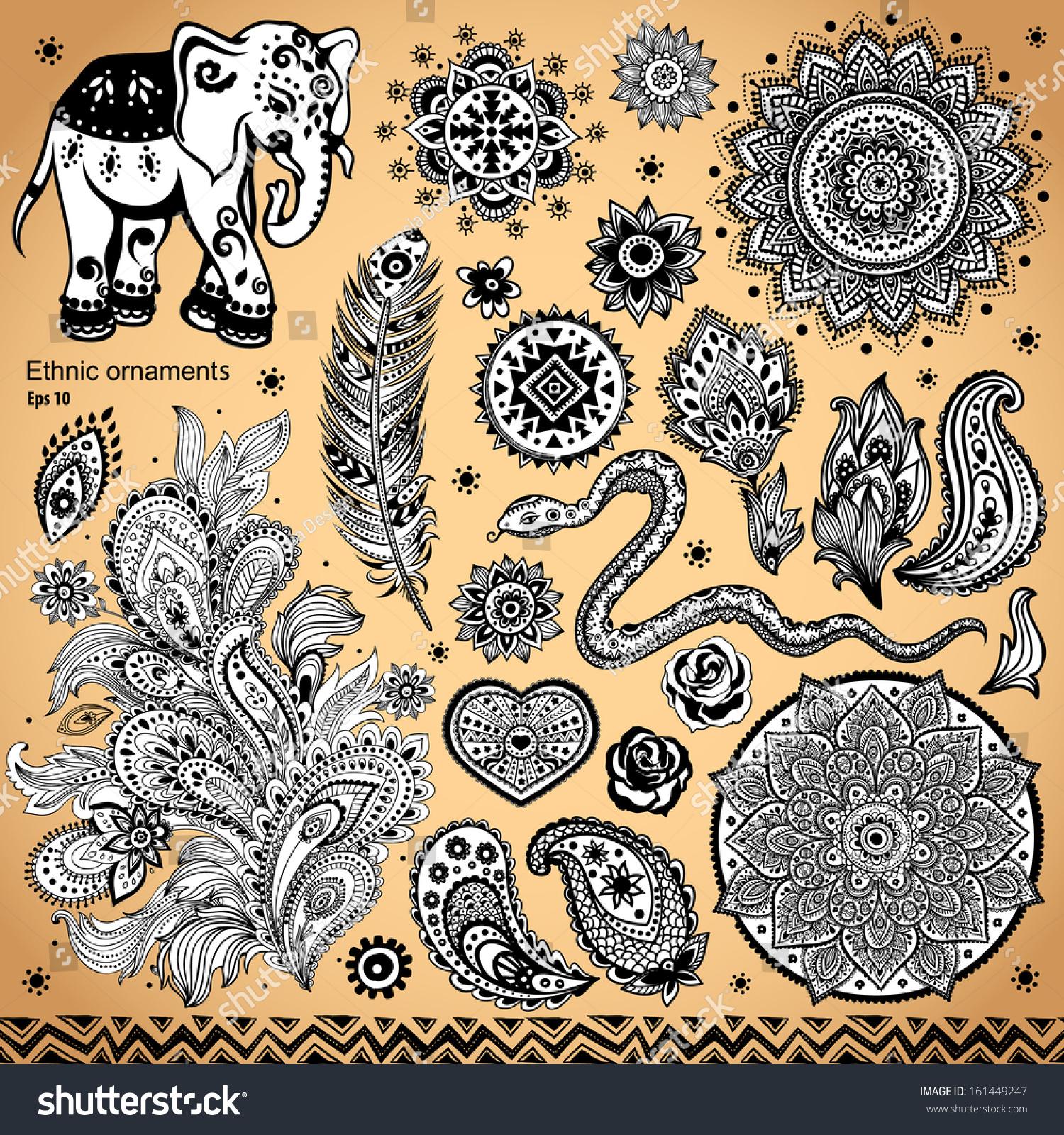 印度装饰元素和符号-背景/素材,复古风格-海洛创意()