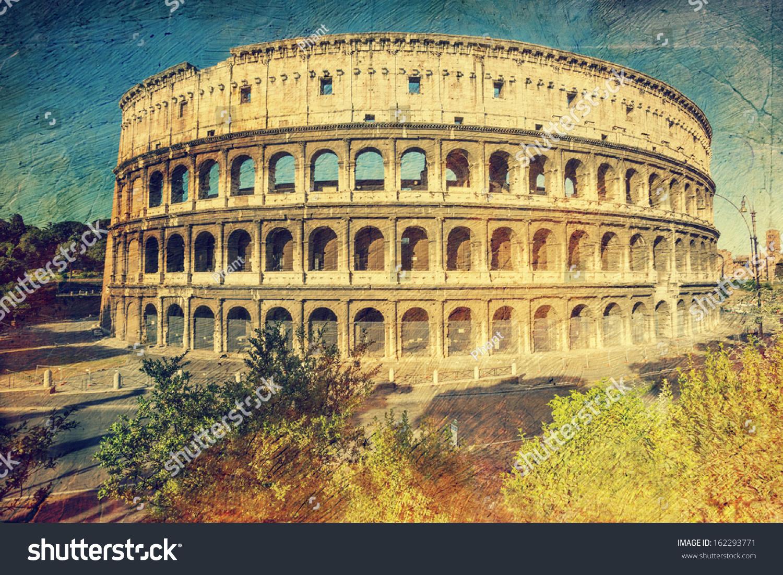 在罗马圆形大剧场,意大利.艺术复古风格.-建筑物/地标