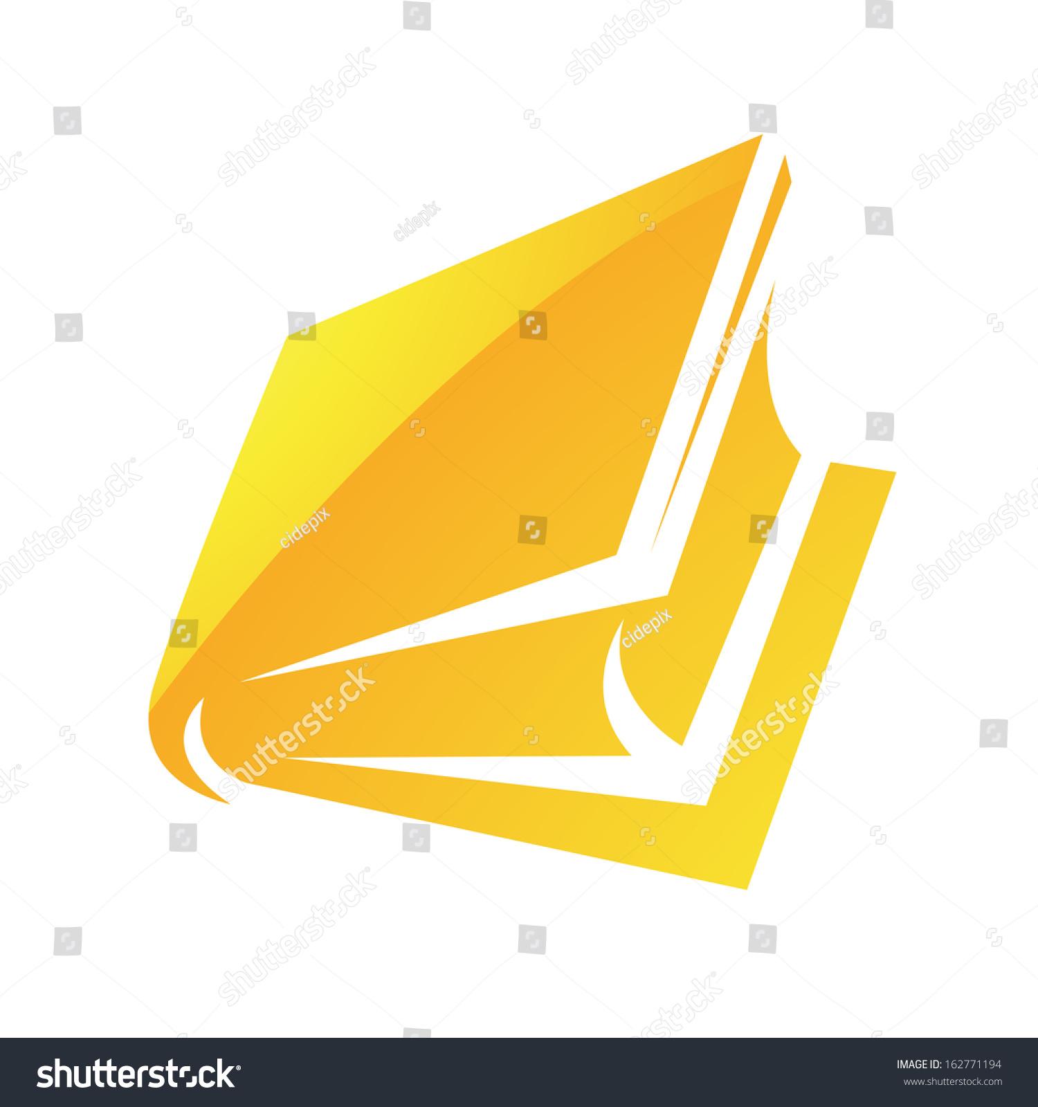 插图的黄色光泽书图标孤立在白色背景