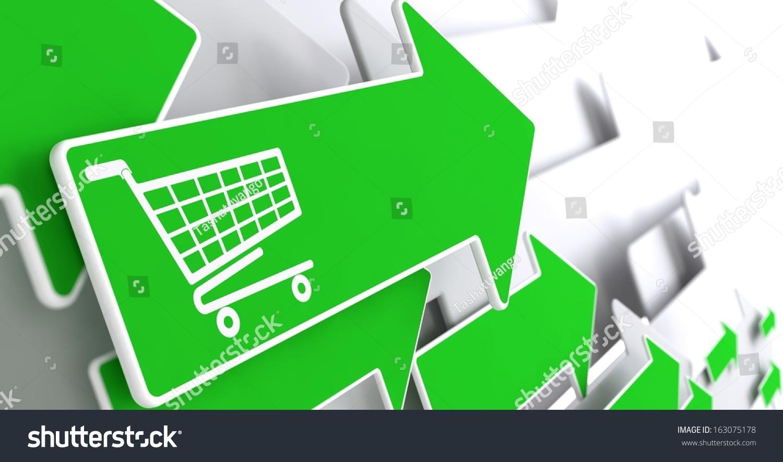 一个灰色背景上的绿色箭头上的购物车图标.-背景/素材