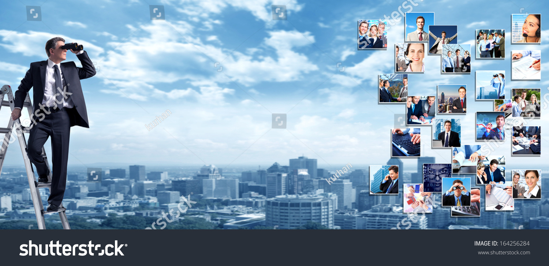 商务人士横幅拼贴背景设计.成功-商业/金融,人物-海洛图片