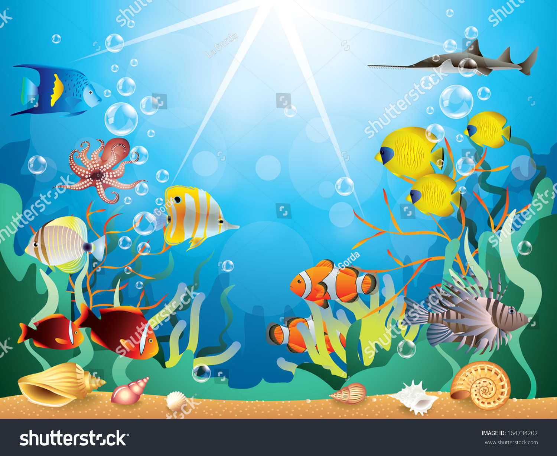 海底世界与珊瑚礁和热带鱼类的矢量图-动物/野生生物