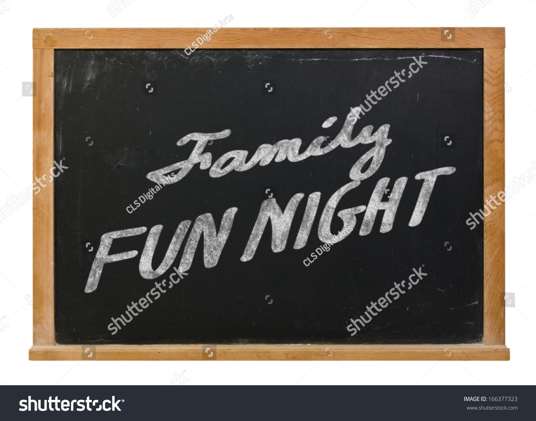 家庭乐趣晚上手绘白粉笔在黑黑板孤立在白色的-背景