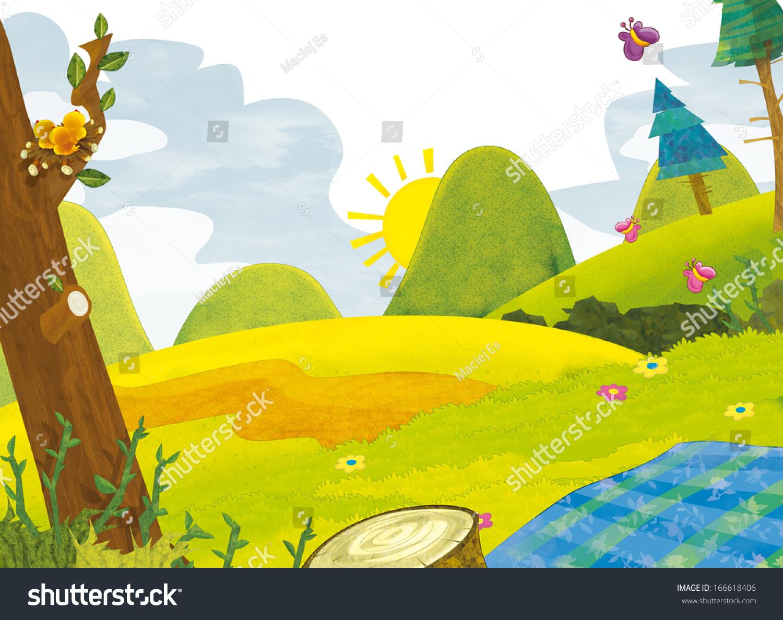 为孩子们卡通风景——夏天插图-背景/素材