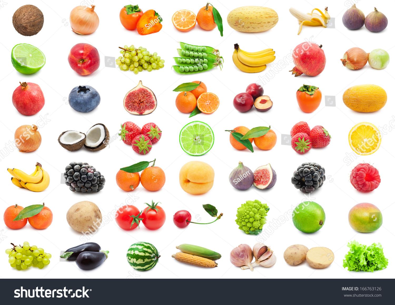收集各种水果和蔬菜的孤立在白色背景