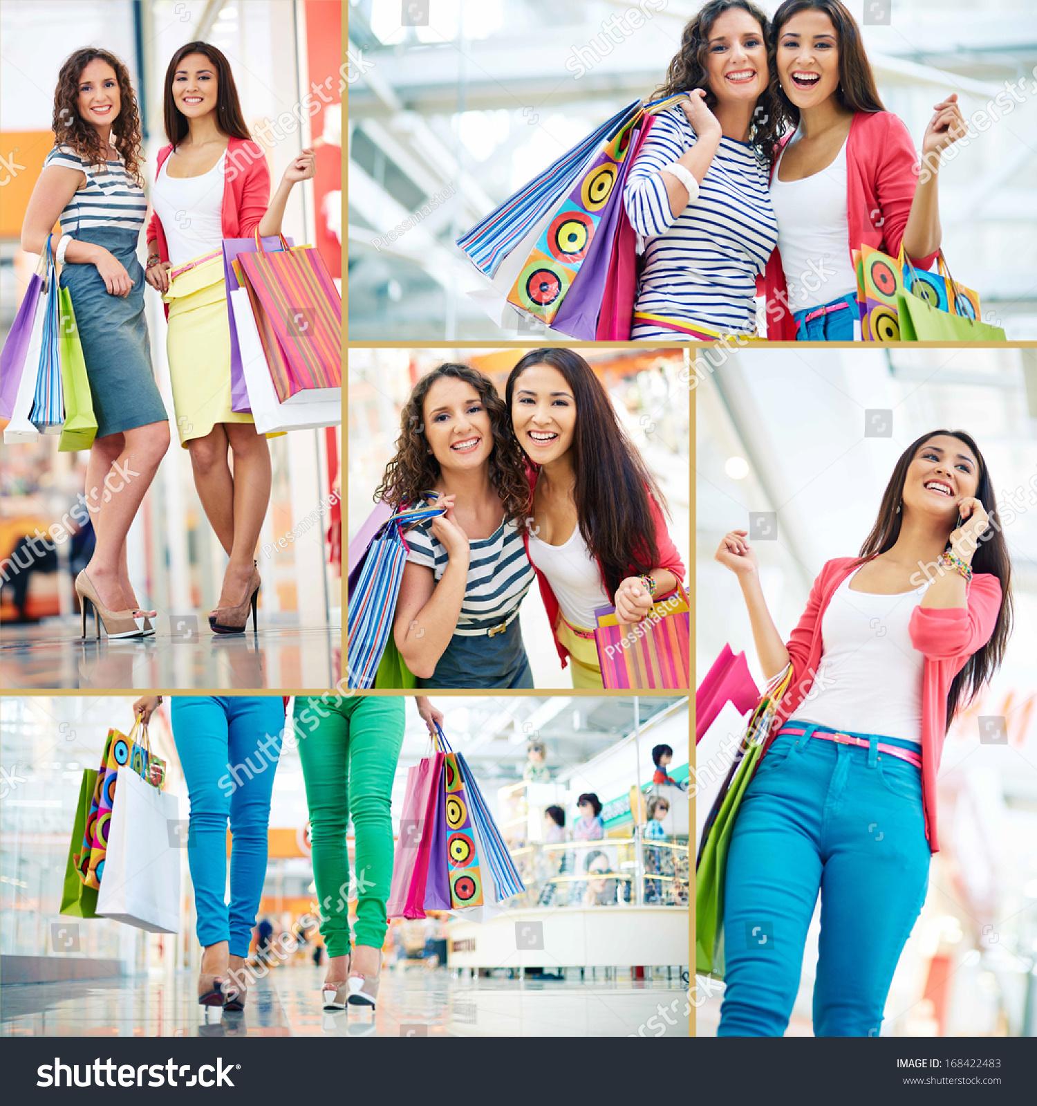 拼贴画的漂亮女孩paperbags贸易购物中心-人物,运动