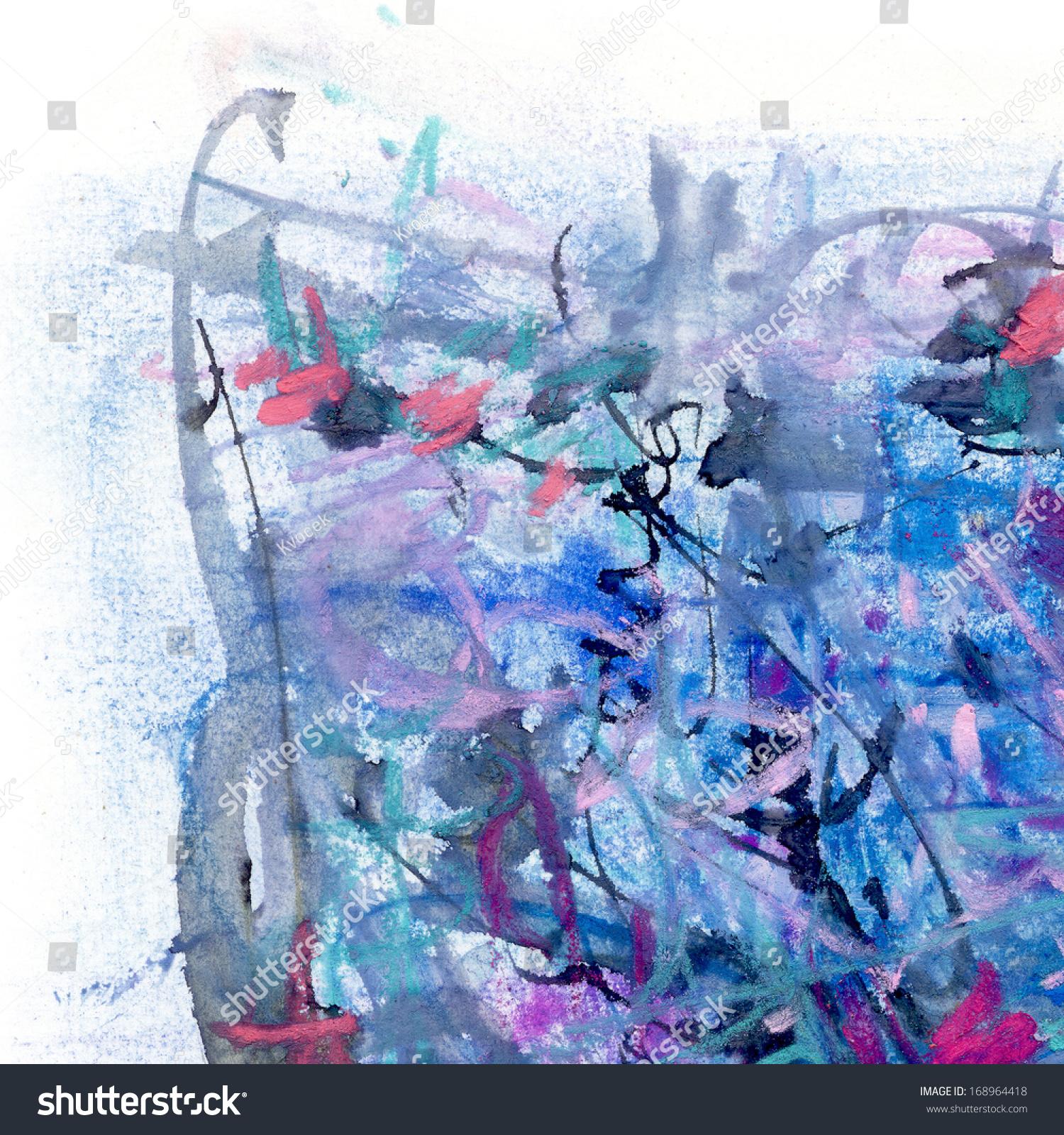 抽象画在纸上用蓝色和黑色颜色,艺术背景-背景/素材