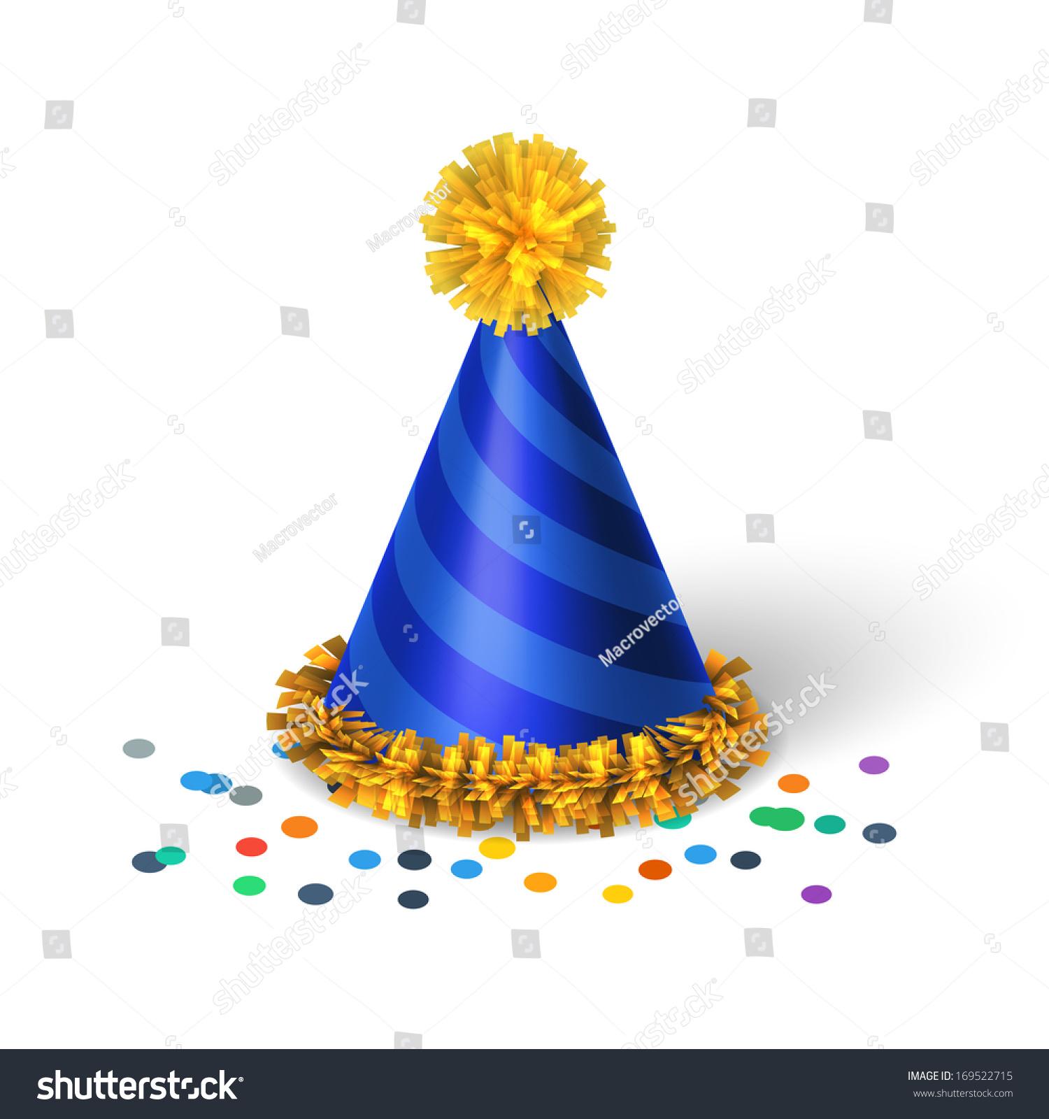 蓝色的生日帽子螺旋孤立的矢量图