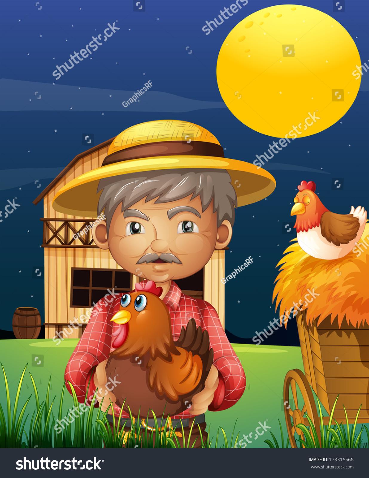 一个与他的农场动物站在面前的巴恩豪斯老人插图
