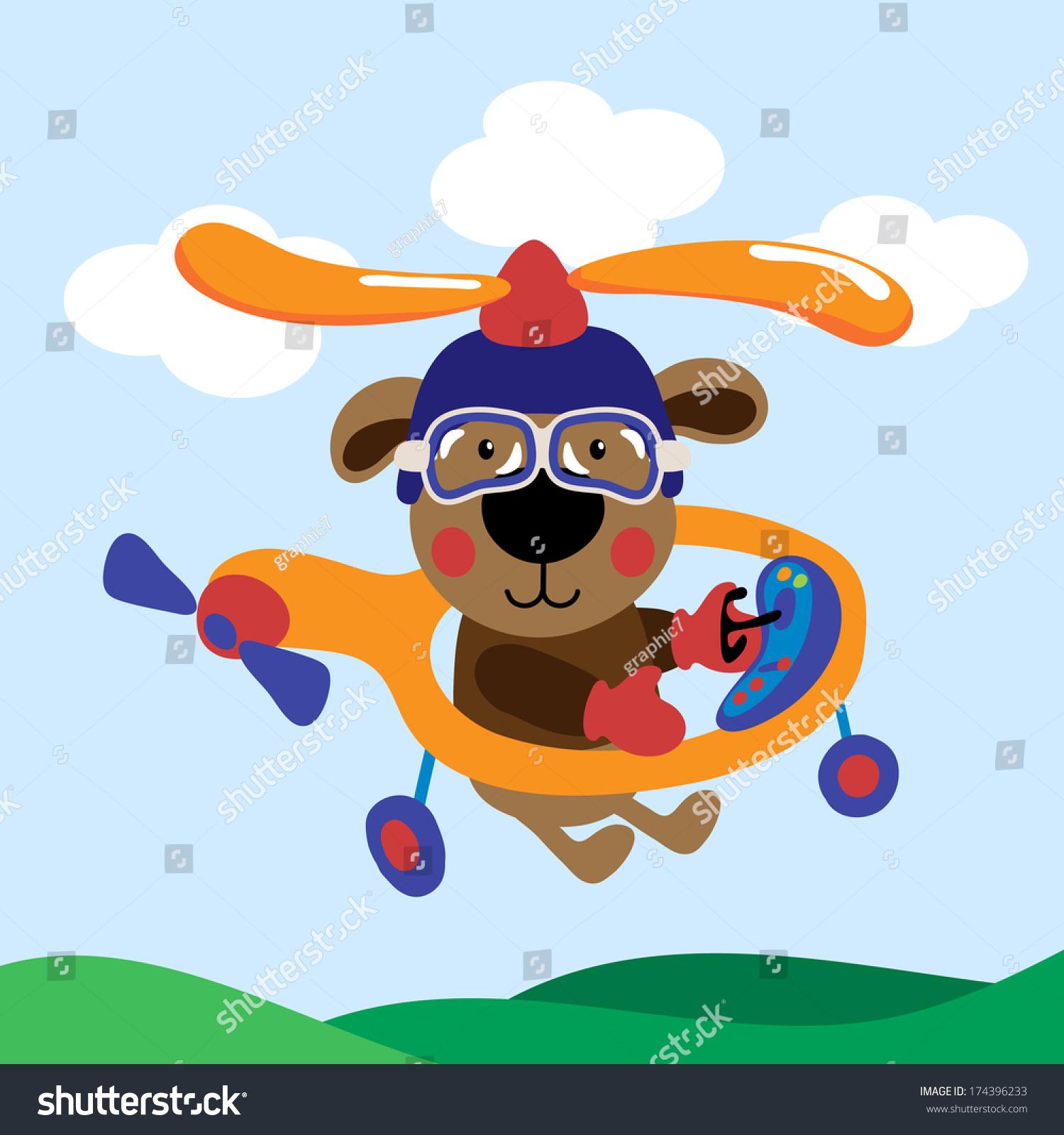 可爱的泰迪熊与直升机飞行-交通运输,动物/野生生物