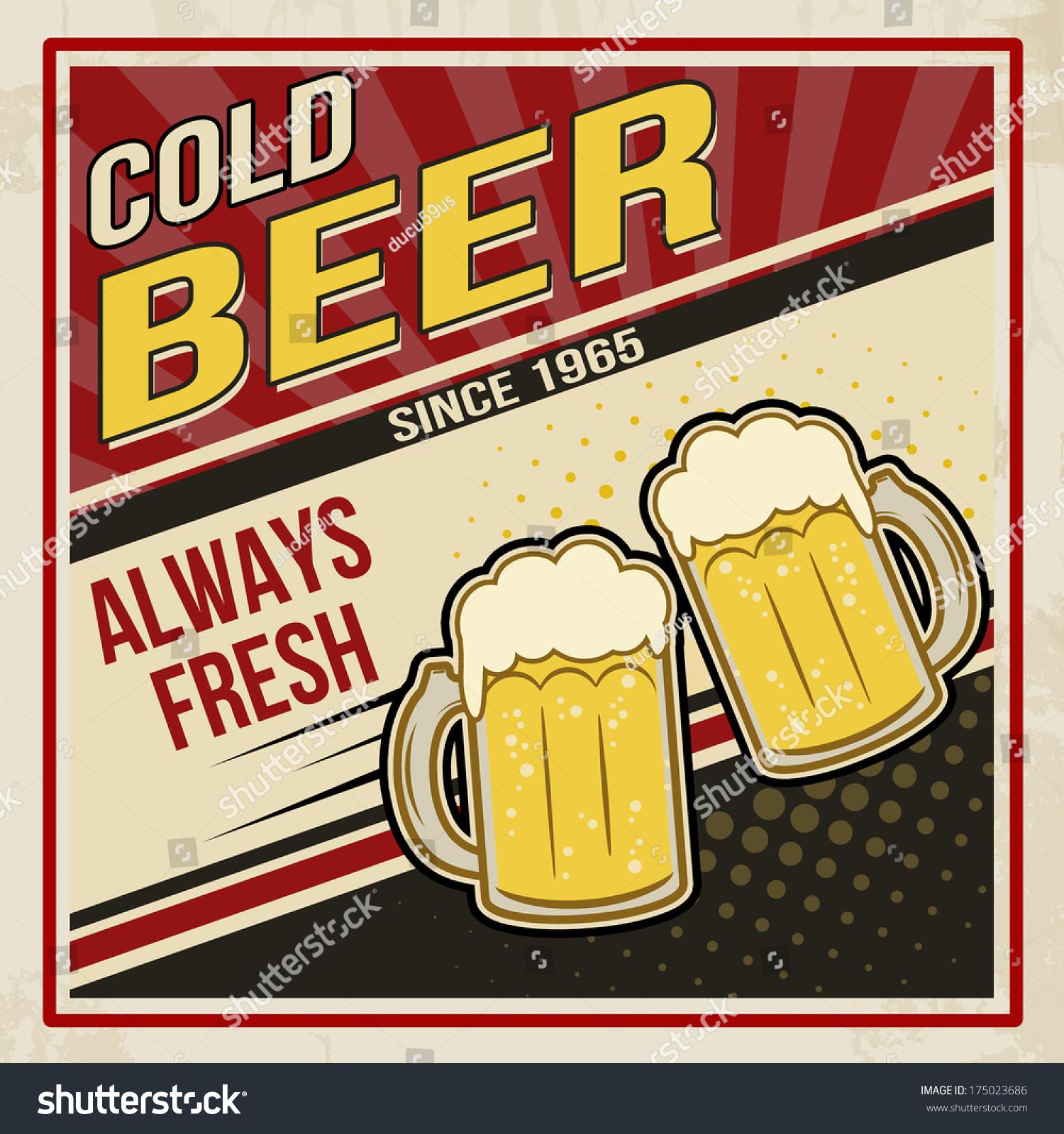 复古啤酒海报.冷啤酒的老式海报模板,矢量插图-食品及