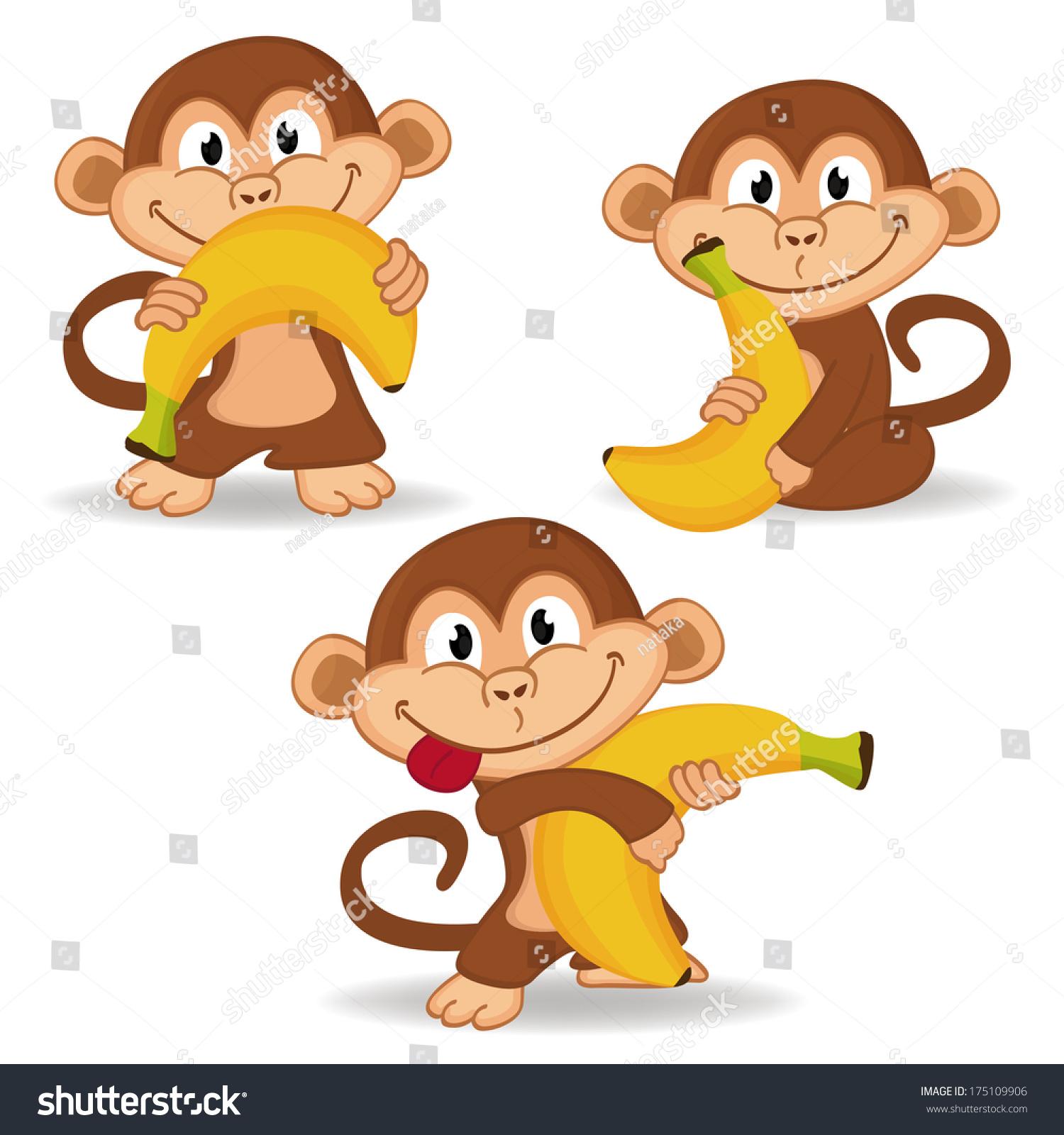 猴子和香蕉——矢量插图-动物/野生生物,背景/素材-()