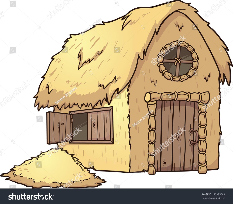 卡通稻草房子.使用简单的梯度向量剪贴画插图