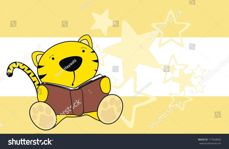 老虎阅读卡通背景矢量格式很容易编辑-动物/野生生物