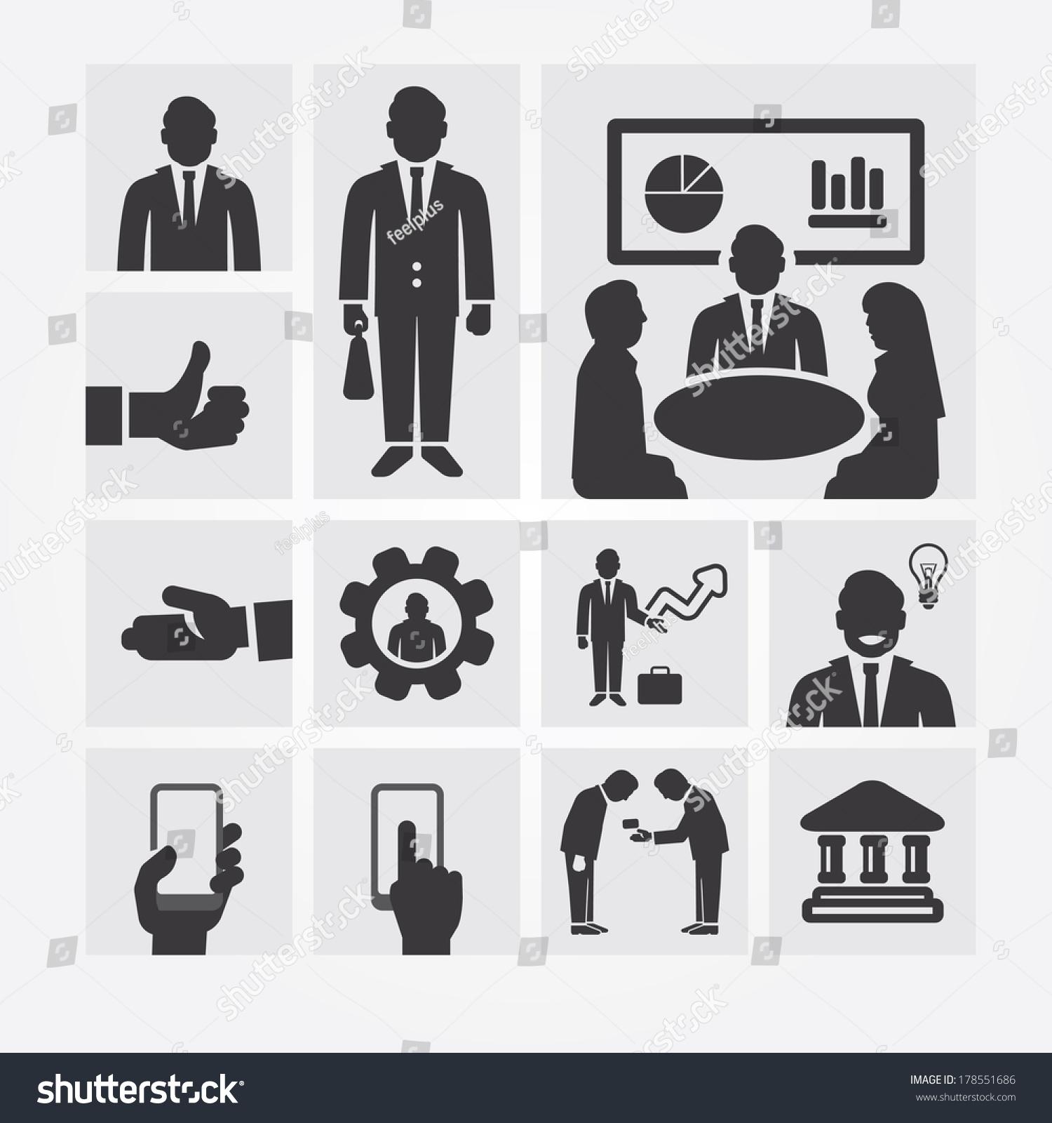 业务图标管理和人力资源.平面设计理念