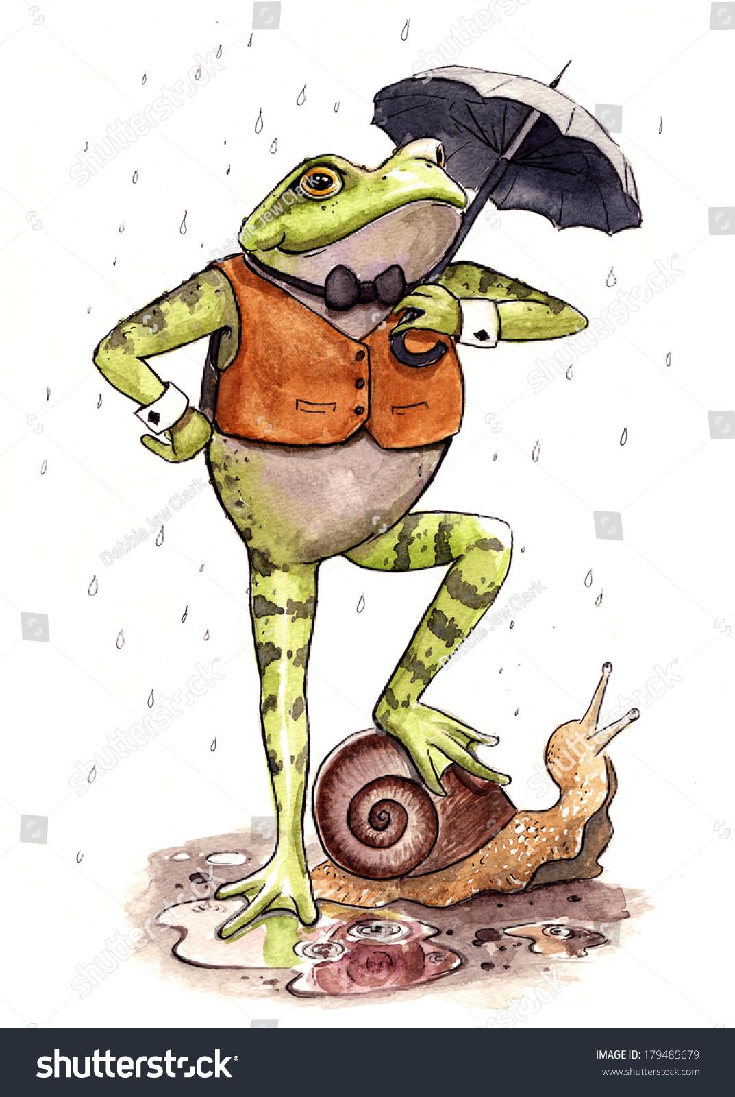 水彩画和水墨画在雨中站着一只蜗牛