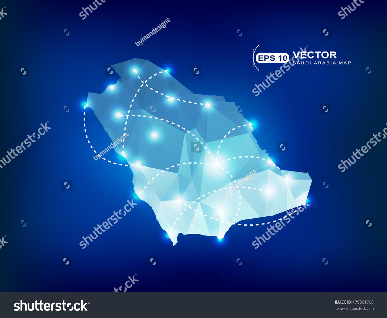 沙特阿拉伯国家地图多边形点灯光的地方-符号/标志