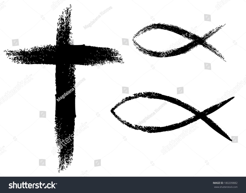 十字架和鱼,基督教符号.图片