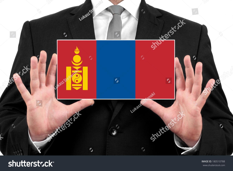 商人拿着名片与蒙古国旗-人物