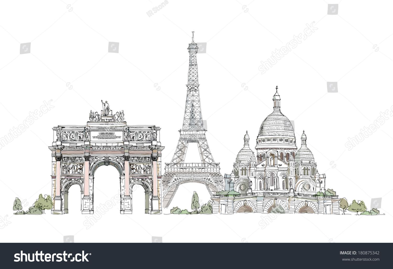 素描的埃菲尔铁塔,胜利拱在蒙马特巴黎圣心,巴黎