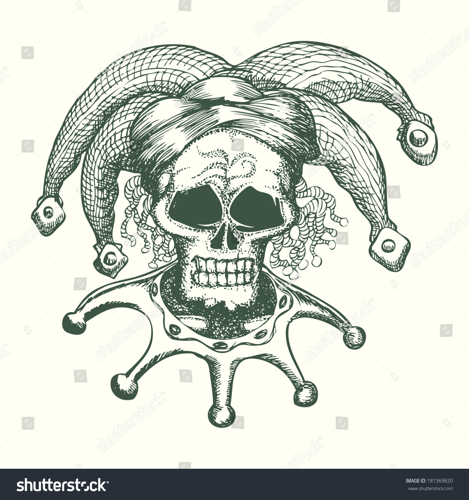 骷髅头戴小丑帽手绘卡通插画-物体,艺术-海洛创意()-.