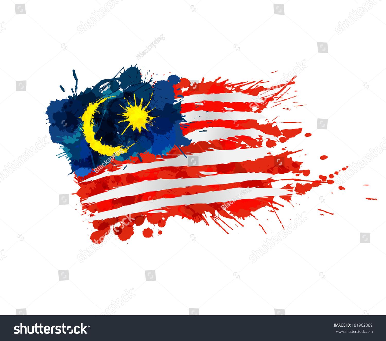 马来西亚国旗的色彩鲜艳的色斑-符号/标志,抽象-海洛
