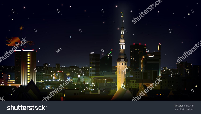 抽象的黑色背景的明星和城市塔林-建筑物/地标,背景
