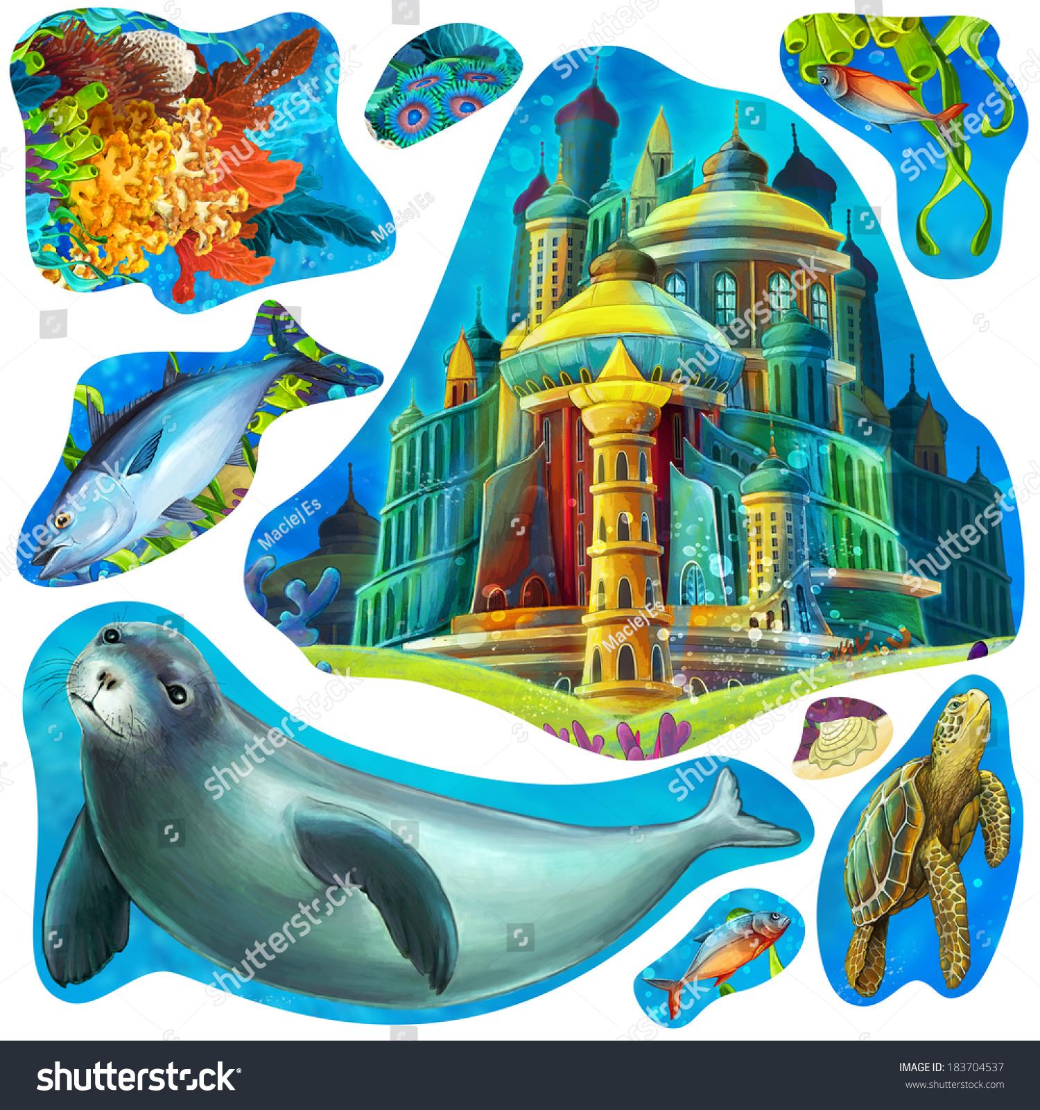 卡通元素的珊瑚礁和童话故事——儿童-动物/野生生物