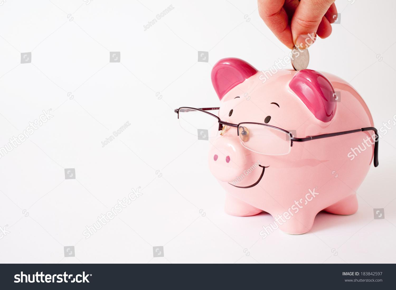 微笑的粉红色的储蓄罐戴眼镜-商业/金融,物体-海洛()