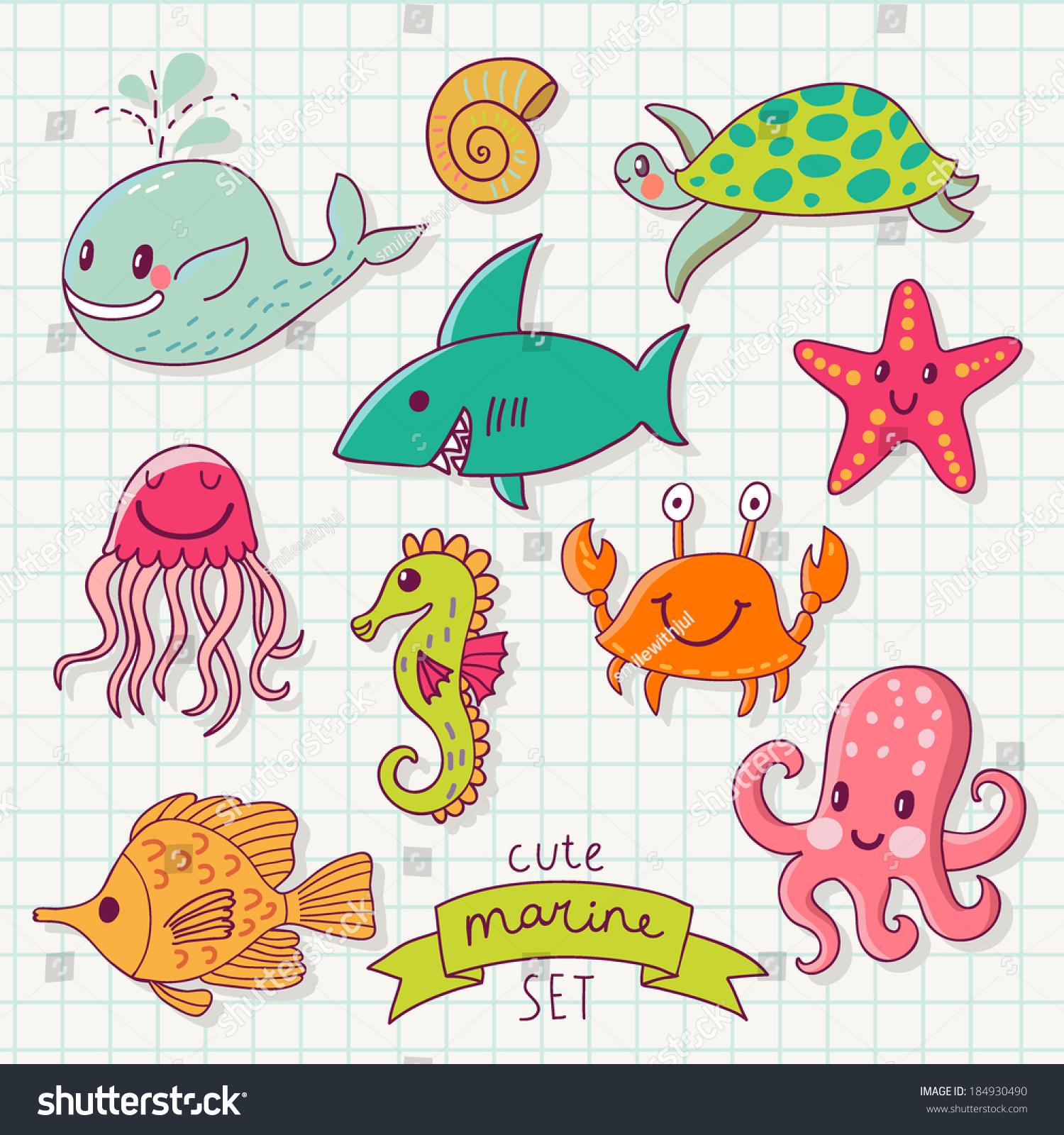 鲸鱼,章鱼,水母,鱼,海马,海龟,海星和螃蟹在卡通卡片