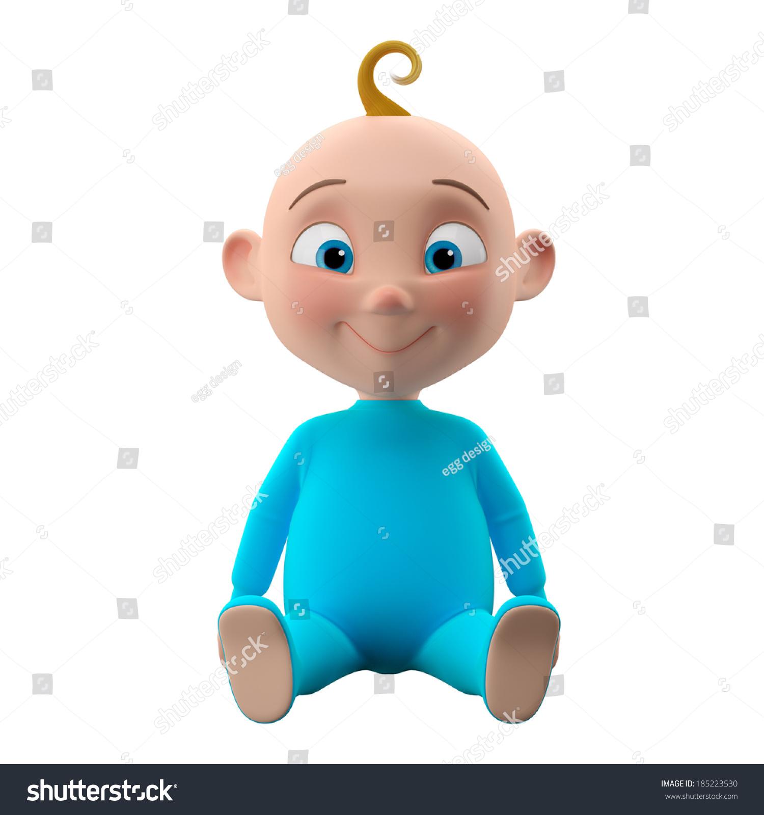 3 d搞笑角色,甜的蓝眼睛男孩图标,微笑的卡通的孩子穿