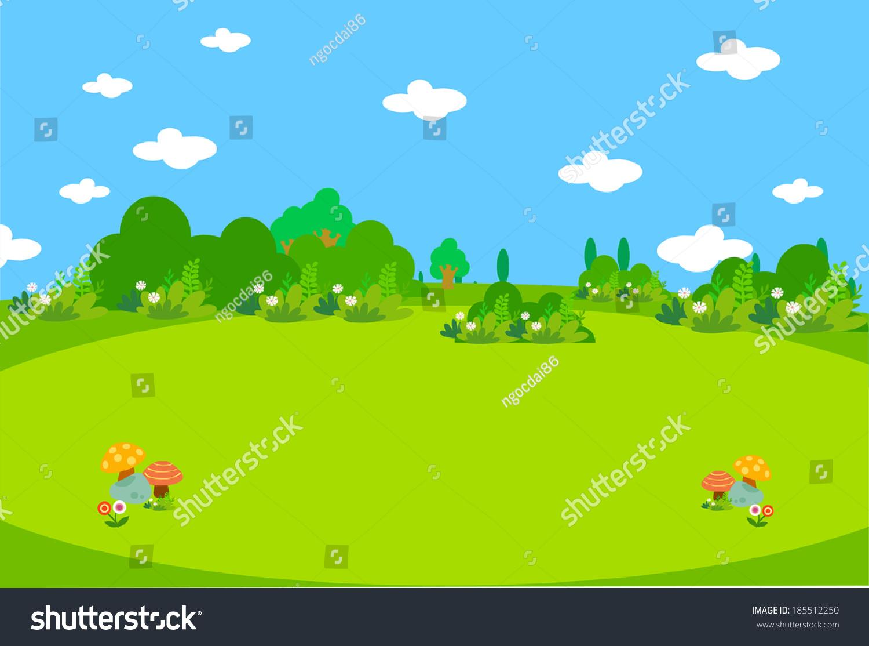 漂亮的绿色草地和蘑菇-背景/素材,自然-海洛创意()-合