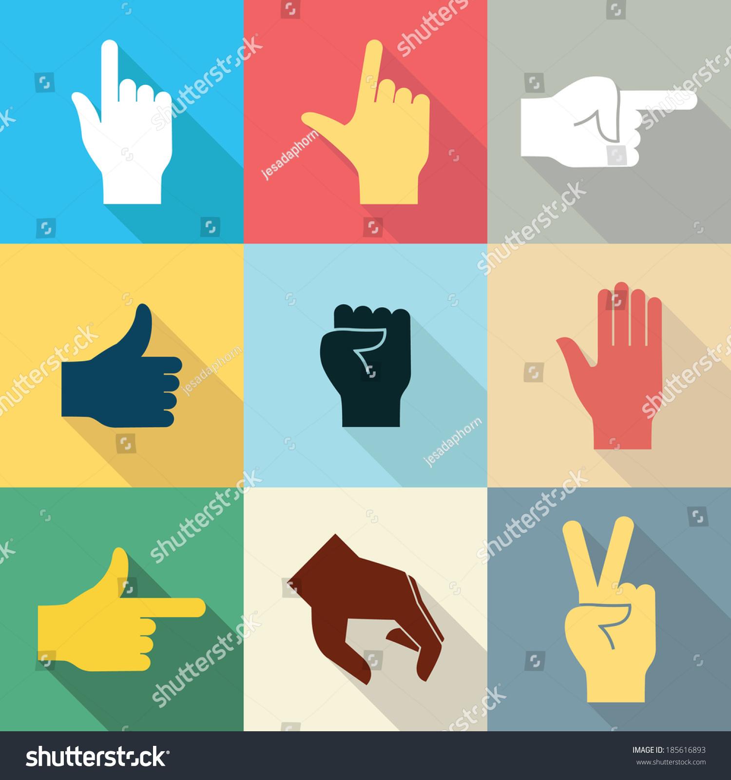平面设计图标集的手在许多不同的手势与长的阴影设置2