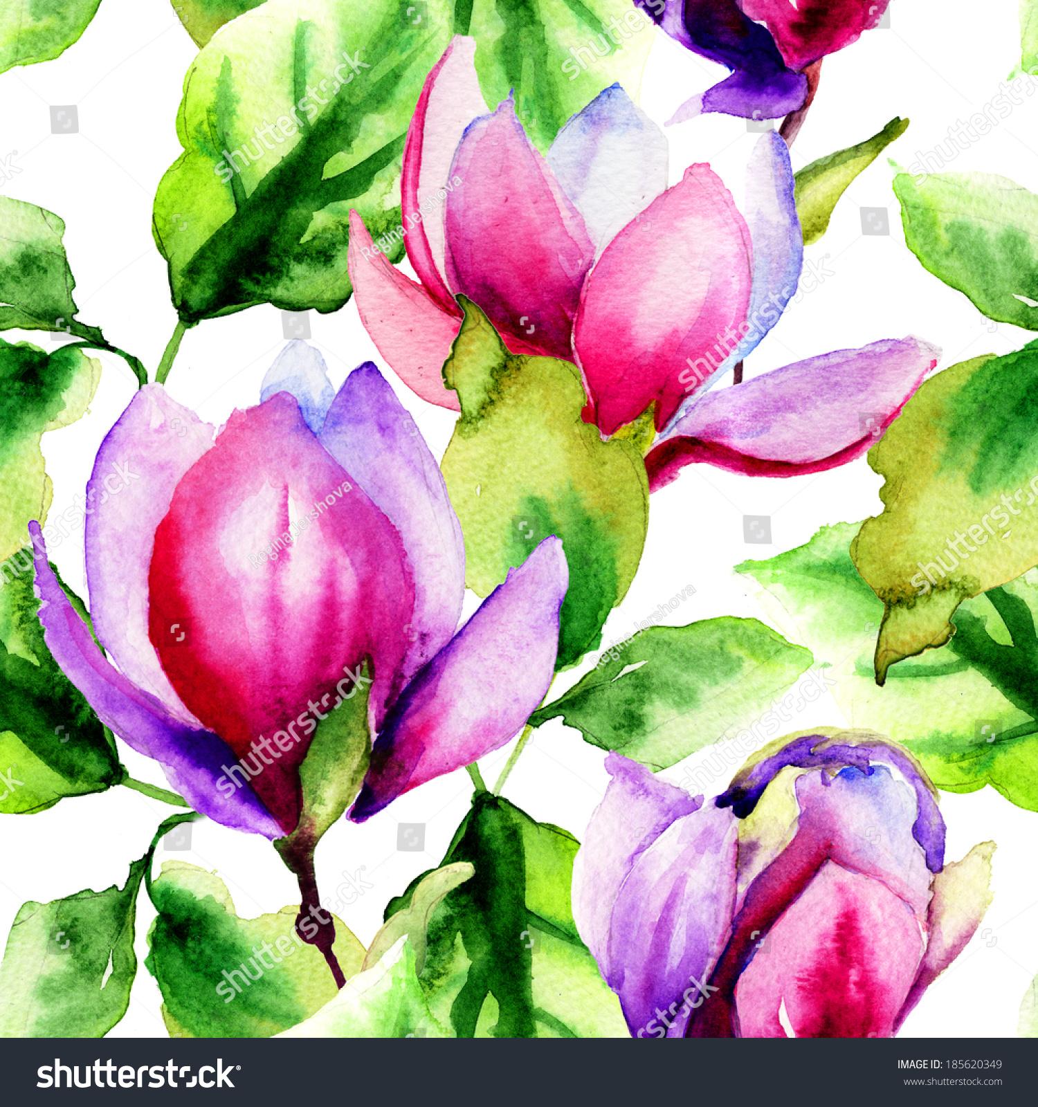 用木兰花的无缝图案,水彩插图-艺术