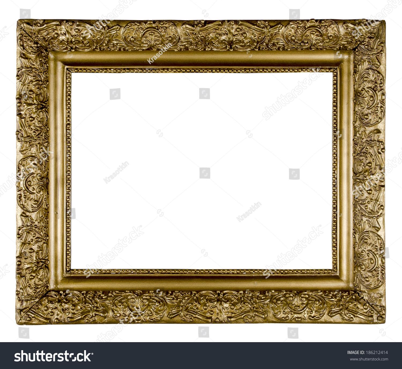 华丽的金色和青铜长方形的木框.白色背景上的老式框架