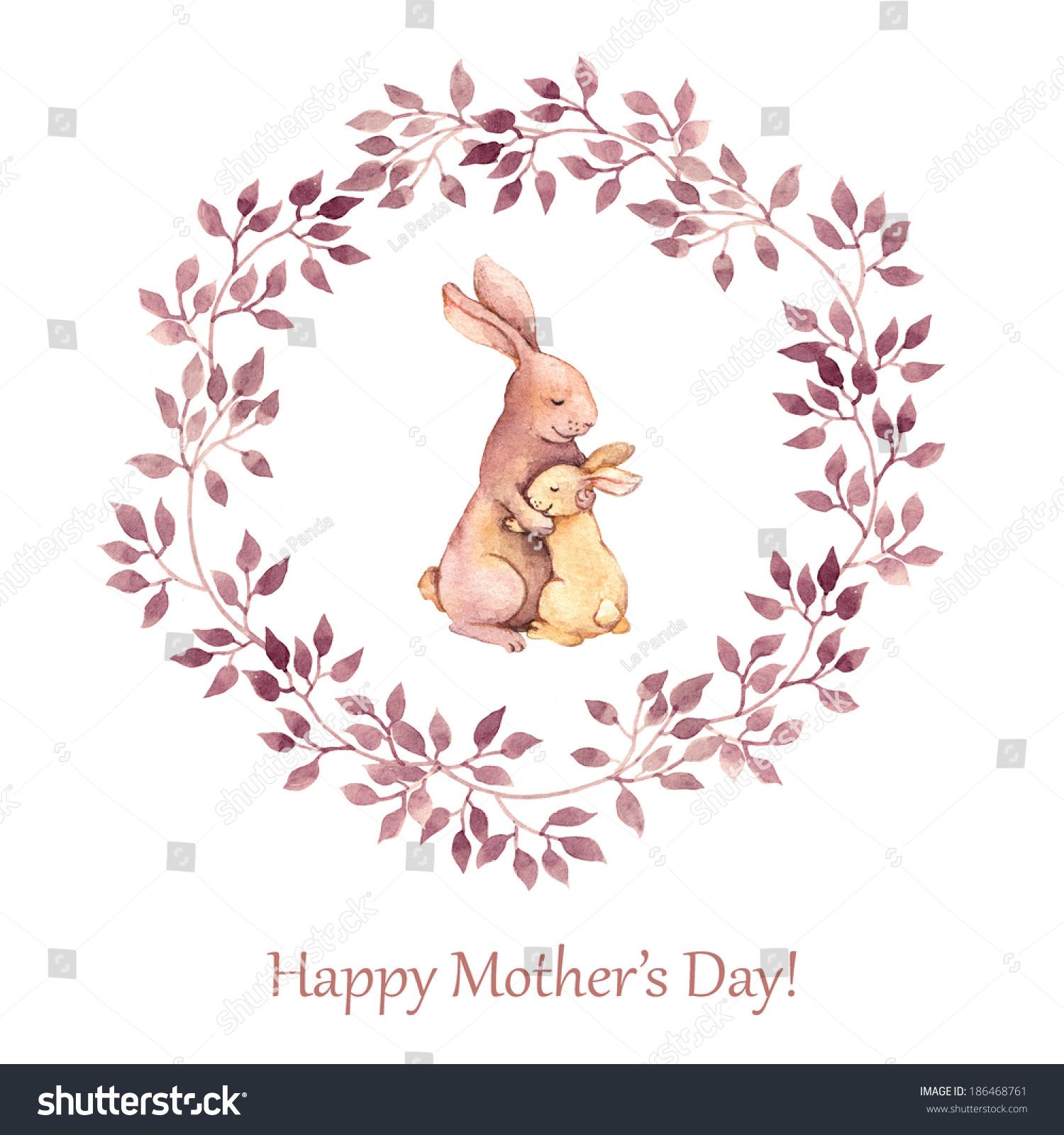 手绘贺卡与可爱的动物——兔子妈妈母亲节她抱孩子.