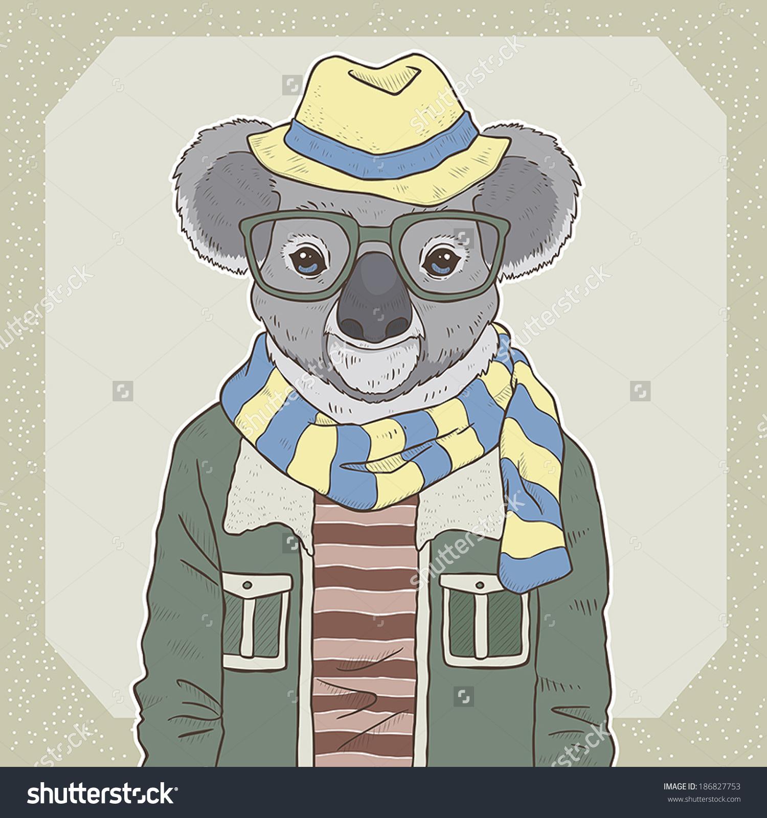复古时尚手绘矢量插图的考拉-动物/野生生物
