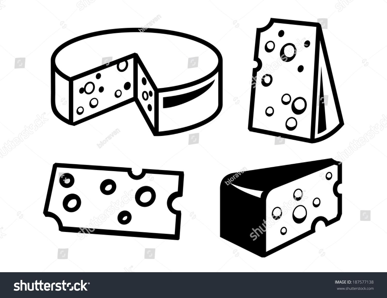 向量上白色背景黑色奶酪图标