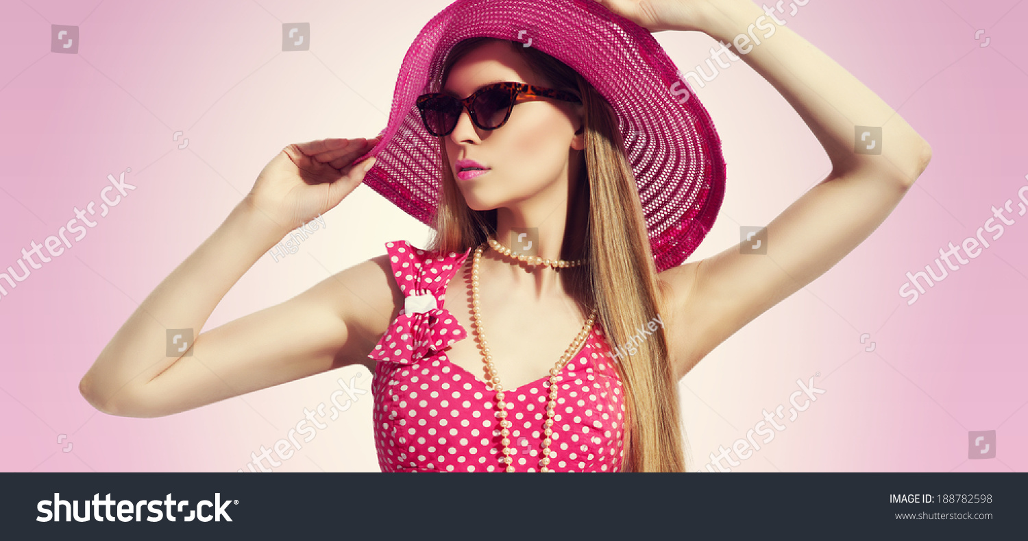 womens pink sunglasses  portrait in pink
