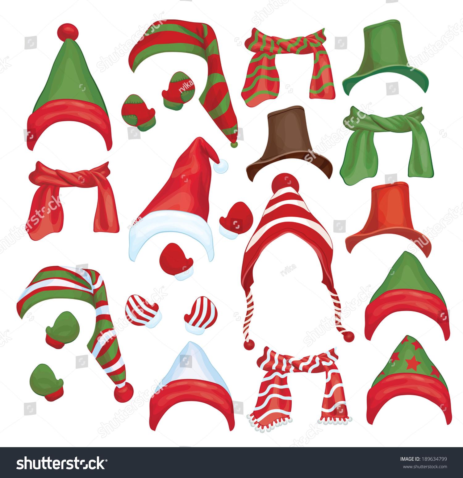 向量组的帽子,围巾和手套设计孤立