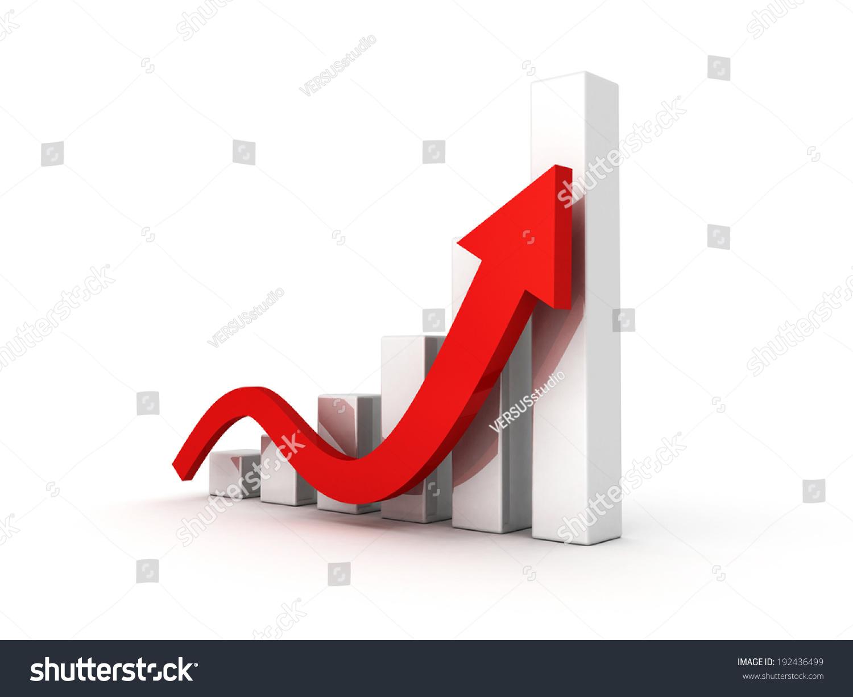 业务图与上升的箭头.3 d渲染图