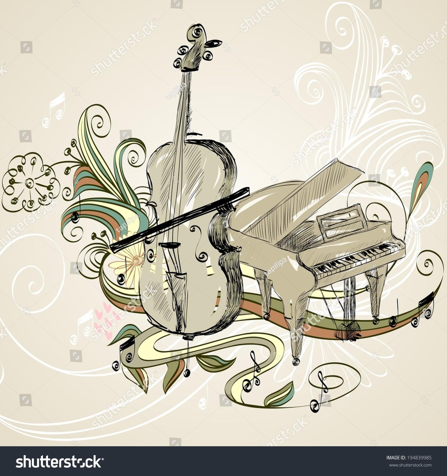 手绘插图的古典乐器