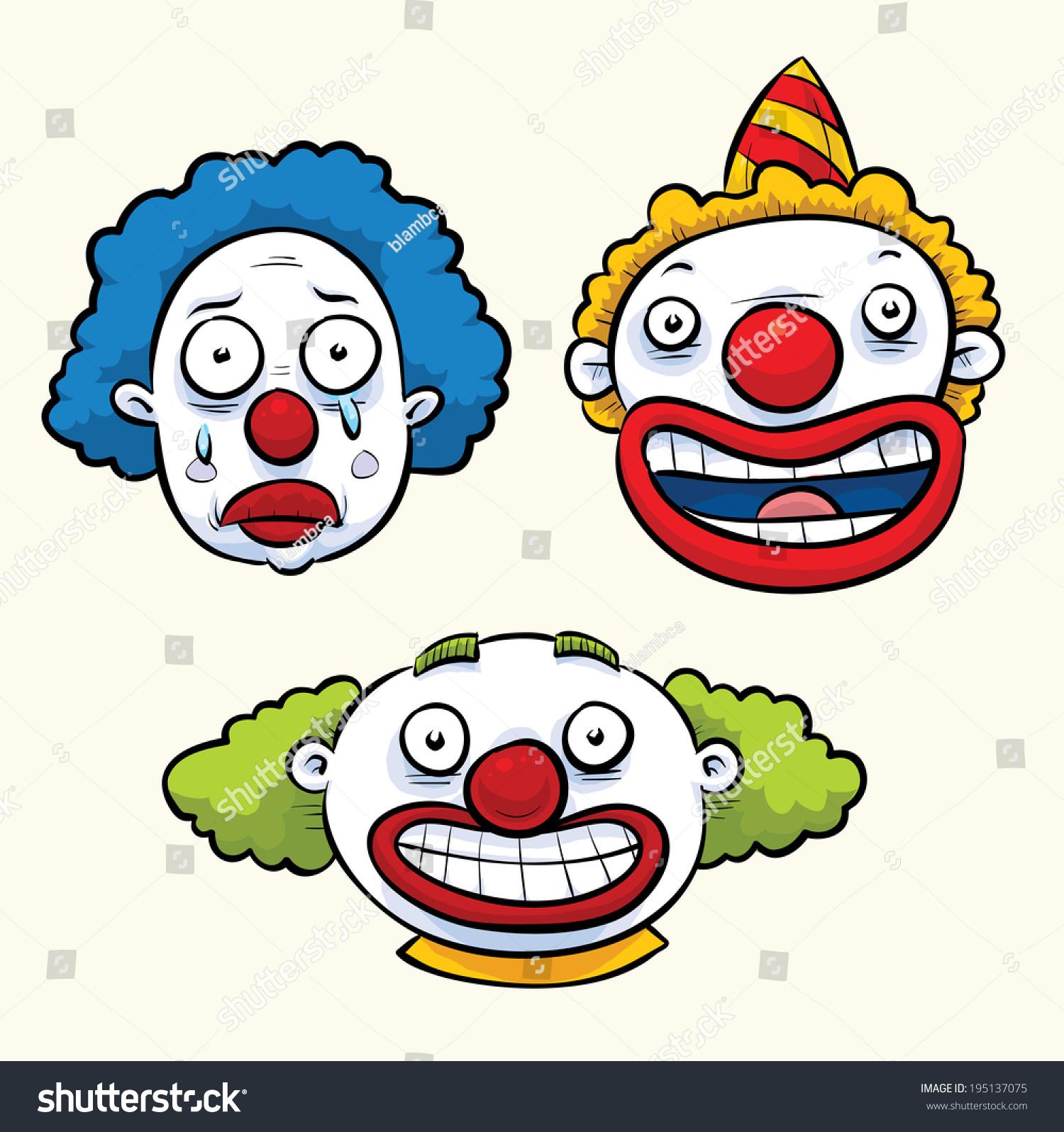 一组三个的卡通小丑了滑稽的表情.-人物,其它-海洛()图片