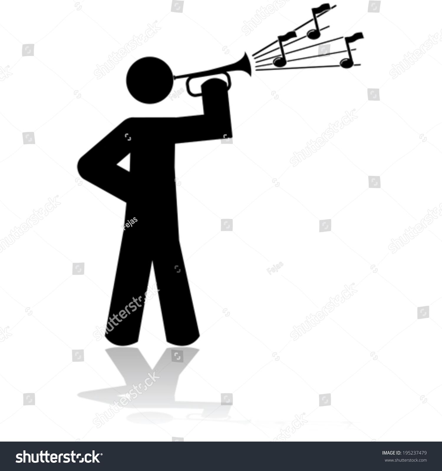 矢量图标说明一个人玩喇叭-艺术,符号/标志-海洛创意